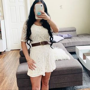 👗 FLORAL LACE CREAM 1/2 SLEEVE BABY DOLL DRESS